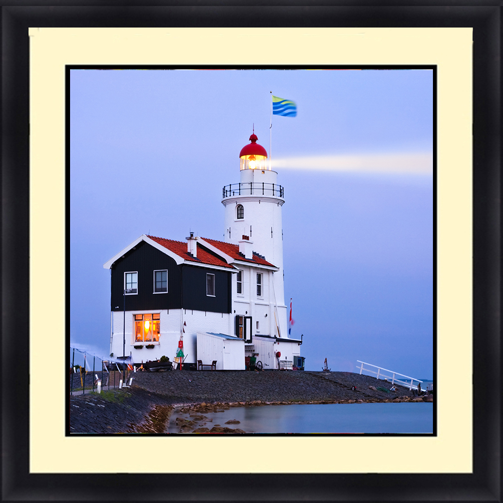 LH-5801 Lighthouse Seascape 30 x 30 Framed Available In