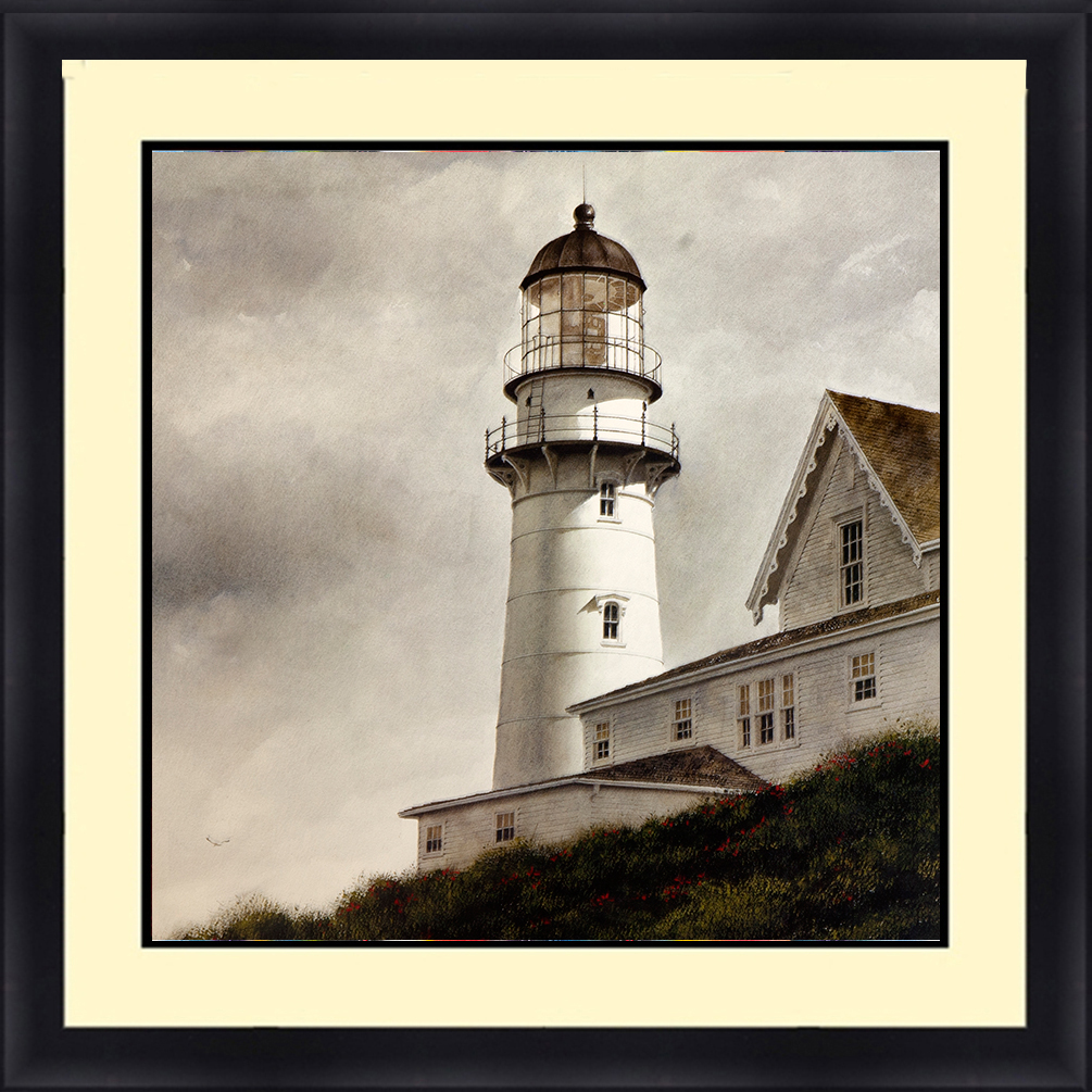 LH-5806 Lighthouse Seascape 30 x 30 Framed Available In