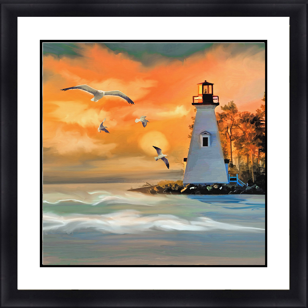 LH-5805 Lighthouse Seascape 30 x 30 Framed Available In
