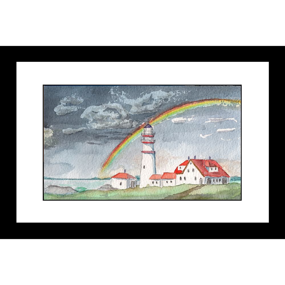 LH-5809 Lighthouse Seascape 24 x 36 Framed Available In
